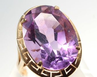 14k Gold Ring Amethyst Large Gift for Her February Birthstone Birthday