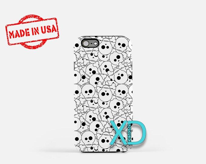 Skull Phone Case, Skull iPhone Case, Halloween iPhone 7 Case, Black and White, Halloween iPhone 8 Case, Skull Tough Case, Clear Case, Bones