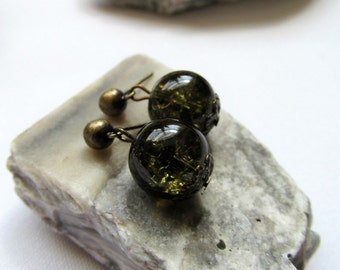 Bronze Post Earrings - Moss Green Glass Simple Bronze Drop Earrings - Sea Moss