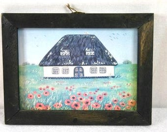 Old Dutch Farm In Wooden Frame Decorative Frame Cottage In Wooden Frame Home Decor Frame Nr 4