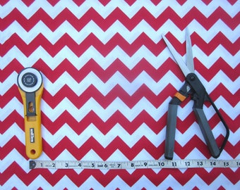 Red and White Chevron Fabric 1 yard - Riley Blake - Craft Fabric - Christmas Fabric