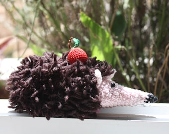 Cute Hedgehog with an apple, handmade crochet self standing toy, baby shower gift, amigurumi home decor, woodland ornament, brown and pink