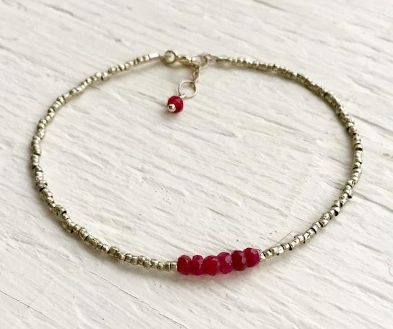 Ruby Gemstone Bracelet , Silver Heishe , Minimalist July Birthstone, Heart Chakra, Valentine Gift Genuine Ruby Gift for Women