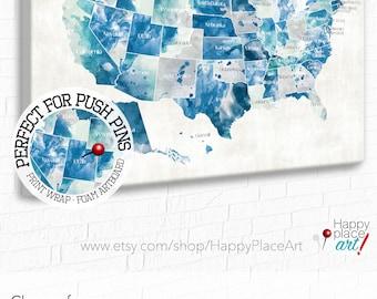 USA map with States Aqua Mint Gray State names on USA