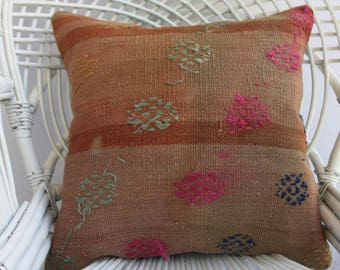 Embroidery kilim pillow Turkish kilim pillow 20x20 pillow covers striped kilim pillow decorative pillows for couch  1106