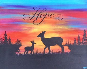 Sunset Doe and Fawn