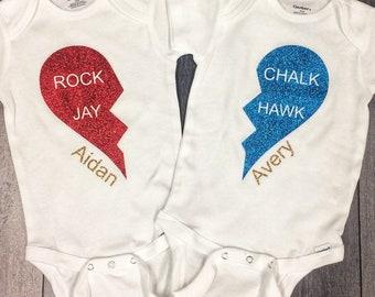 Rock Chalk Jayhawk heart onesie, customized onesie, Personalized onesie, twins, gift, Baby Shower Gift.