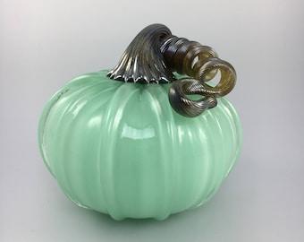 """5"""" Glass Pumpkin by Jonathan Winfisky - Opaque Mint Green - Hand Blown Glass"""