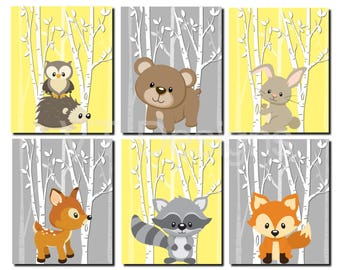 Woodland Nursery Art, Forest Animals Wall Art, Kids Wall Art, Yellow, Gray, Fox, Deer, Raccoon, Hedgehog, Owl, Set of 6, Prints or Canvas