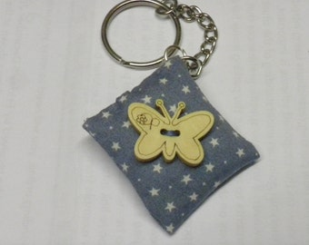 Mini cushion keyring Blue fabric with white stars and wooden butterfly/birthday gift/novelty/charm