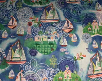Dream Boats by Janet Broxon for Quilting Treasures Quilting Fabric A94 Sold by the Half Yard