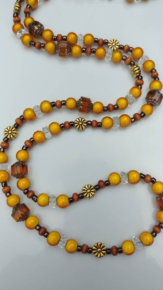 Gold and Brown Long Bead Necklace, Autumn Wheat