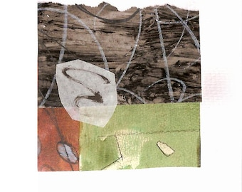 """Undisturbed - Collage with Hand Painted Papers 4 x 4"""" on 5 x 5"""" Backing"""