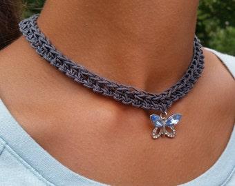 Butterfly charm crocheted hemp choker/necklace