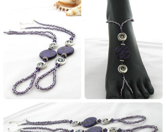 PDF Pattern - Purple and Silver Barefoot Sandals