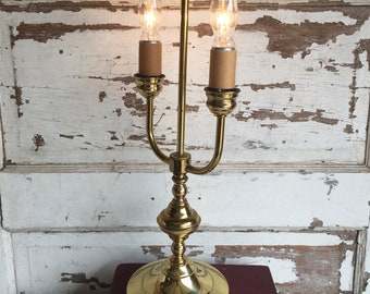 Vintage Brass Bouillotte Lamp 2 Candle - Gilbert 1950s Made in USA