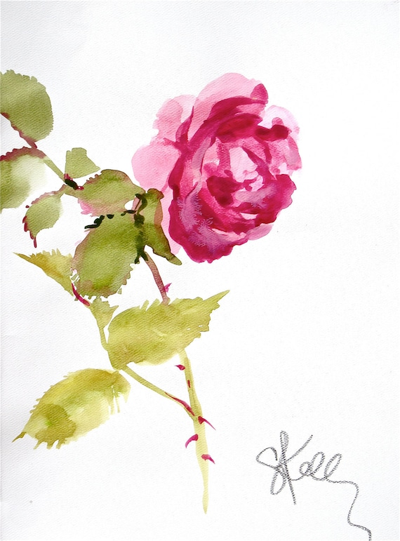 Pink Rose Stem - original painting