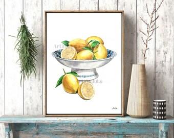 Lemons in the blue bowl,  Asia art print of my original watercolor painting