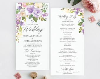 Wedding Programs Template - Printable Wedding Program - Ceremony Printable Template - Editable Program - Instant Download PDF Darling Flora