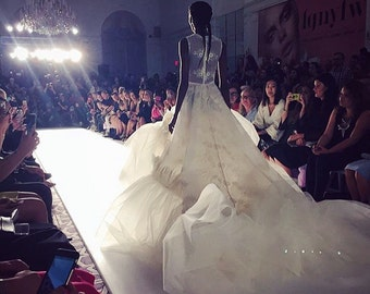 Irina Shabayeva Lace Applique tulle ballgown with feather deatails and extra long train. Comes in custom colors ..