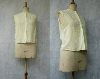 1960s Buttercup Yellow Embroidered Blouse