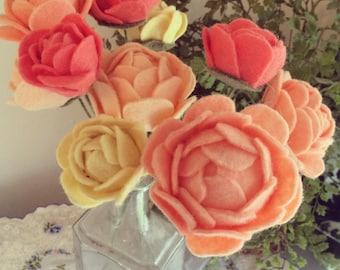 Coral Felt Flower Bouquet