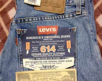 Brand New Vintage Levi's 614 Blue Denim Stonewashed Jeans W30 L32 Made In Malta 90's