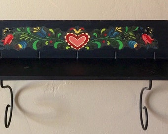 Black Metal Wall Shelf with Floral Decal