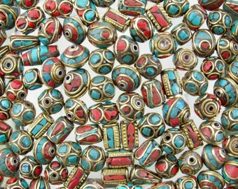 Coral, Turquoise and Brass Handmade Tibetan Bead Mix - Qty 10 (G433) SE