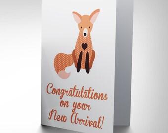 New New Baby Arrival Congratulations Fox Vixen Art Greetings Card CP1646