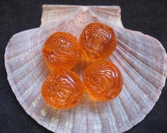Vintage Lucite Beads Orange Textured Round  20mm - Four pieces