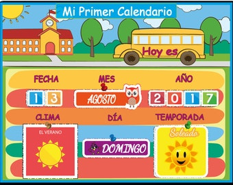 Spanish Montessori Kids Calendar, Waldorf Preschool Calendar for Kids,  Spanish Days of the Week, Instant Download, Personalized