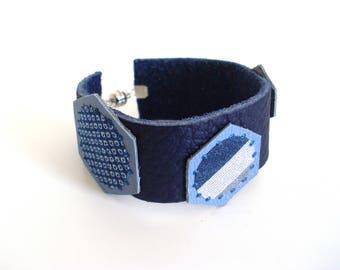 * Hex blue leather and sky bracelet *.