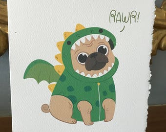 pug in dragon costume, blank card