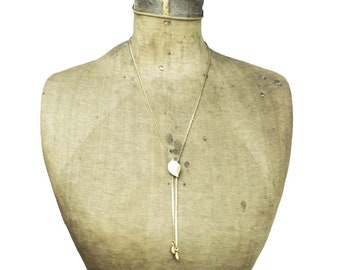 White Shell Necklace, White Shell Lariat Necklace, Gold Chain Lariat Necklace, Gold Lariat Necklace, Long Gold Necklace