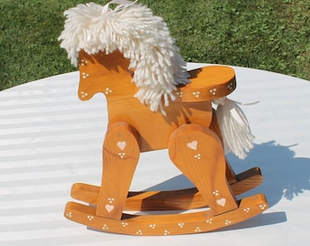Wooden Rocking Horse  Home Decor - Vintage Handmade Farmhouse / Country Decor - Shabby Chic Horse