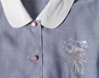 Vintage cute blue stripe white collar embroidered short sleeve blouse