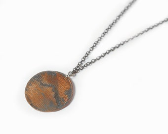 SALE -- MT. HOOD | Etched Copper Coin Pendant with Mt. Hood, Oregon