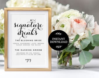 Signature drink sign for wedding bar with signature cocktails signature drink sign instant download editable pdf signature drinks printable wedding reception sign junglespirit Images