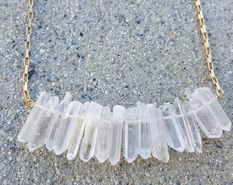 white bar crystal with 14k gold flled necklace/Boho necklace/spring necklace/summer necklace/Bar bib necklace/Bib necklace