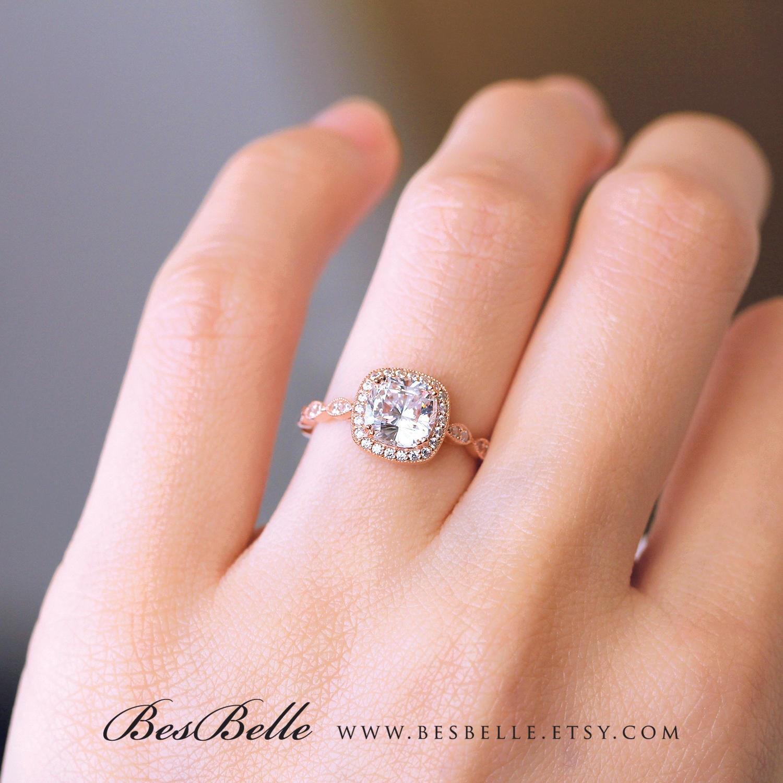 2.08 ct.tw Art Deco Ring-Halo Engagement Ring-Cushion Cut