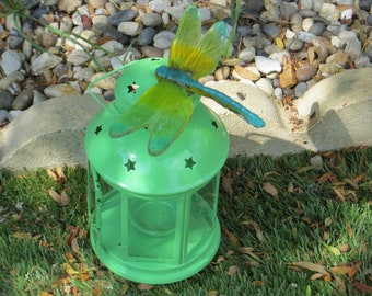 Lantern and dragonfly-dragonfly-glass-gift-garden-present- tee light-