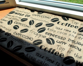 Burlap Table Runner Natural Coffee Beans Coffee Sayings Beige Black