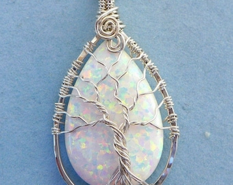 Opal Pendant Necklace,Simulated Opal Tree of Life Necklace in 99.9% Fine silver,Synthetic White Tree of Life Pendant,Mothers Day Gift