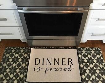 Dinner is Poured Kitchen Mat, Door mat, Doormat, Area Rug Indoor/Outdoor 18x27 by Be There in Five