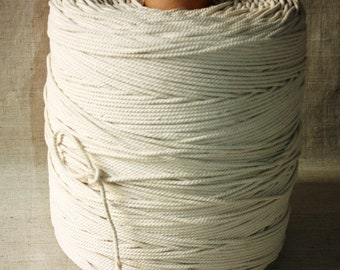4 mm of 1 Spool = 622 Yards = 568 Meter of Cotton Rope of Natural and Elegant 100 % COTTON TWISTED CORD - Semi White - Offwhite - Raw White