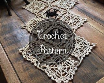 Cobwebs crochet doily pattern, PDF digital download, Halloween