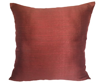 Maroon Pillow Cover Raw Silk Look Pillow Cover Minimalist Pillow Covers
