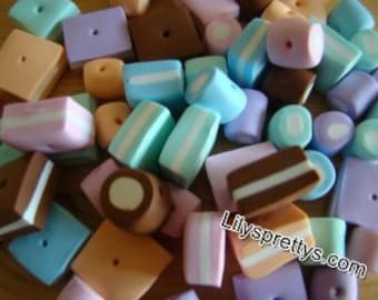 Handmade Polymer Fimo Clay Dolly Mixture Sweet Sweetie Candy Beads