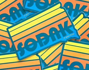 SoDak Sunset Teal Blue Sticker - Retro South Dakota Sunset Turquoise Decal - South Dakota Decal Bumper Sticker SoDak Sticker Oh Geez Design